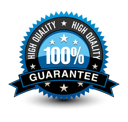 Strong blue colored 100% high quality guarantee badge with sleek ribbon isolated on white background.