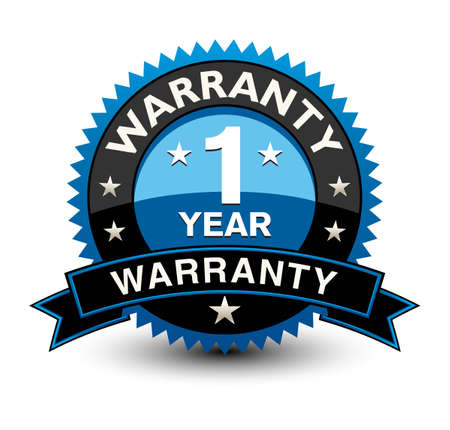 Strong blue colored 1 year warranty badge with sleek ribbon isolated on white background.