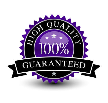 Purple and powerful 100% high quality guaranteed badge isolated on white background.