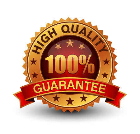 Golden and red combined HIGH QUALITY 100% guarantee badge isolated on white background.