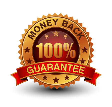 Golden and red combined 100% money back guarantee badge isolated on white background.