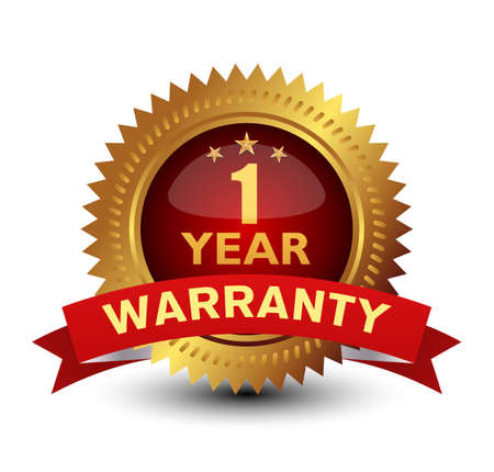 Royal and majestic 1 year warranty. Golden Red combined badge, isolated on white. Ilustración de vector