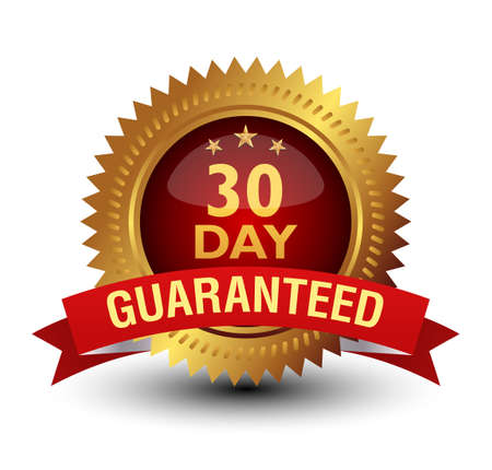 Royal and majestic 30 day money back guaranteed. Golden Red combined badge, isolated on white.