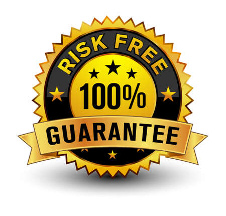 Strong golden colored 100% risk free guarantee badge.