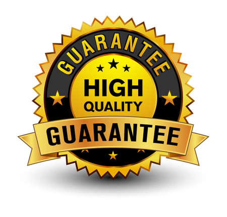 Strong golden colored high quality guarantee badge. Vector Illustration