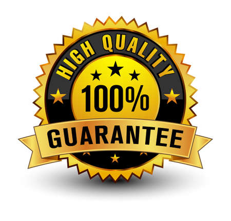 Strong golden colored risk free guarantee badge.