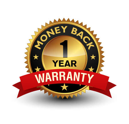 Very powerful golden color 1 year money back warranty badge with red ribbon on top. Isolated on white background.