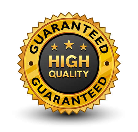 Very strong and powerful high quality guaranteed golden badge. Isolated on white background.