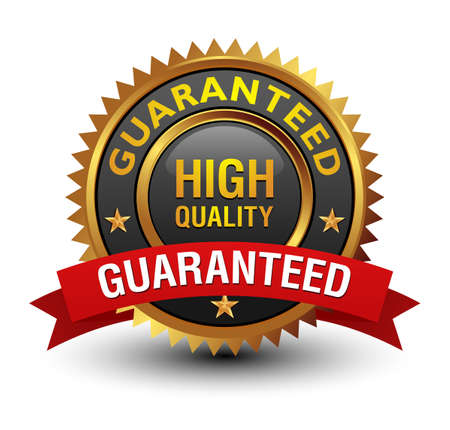 Majestic high quality guaranteed badge with red ribbon on. Isolated on white background.