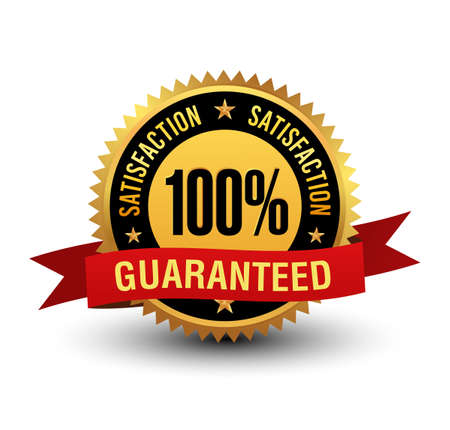 Powerful 100% satisfaction guaranteed badge with red ribbon.