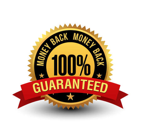 Powerful 100% money back guaranteed badge with red ribbon.