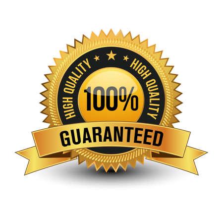 Premium Quality 100% high quality golden guarantee badge Seal Sign Isolated on White Background. Ilustração