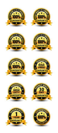 100% satisfaction guaranteed badges with top quality, risk free, money back, warranty etc badges.