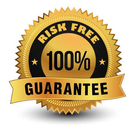 Exclusive high quality 100% risk free guarantee golden badge with sleek ribbon on top. Vektorgrafik