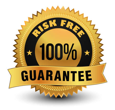 Exclusive high quality 100% risk free guarantee golden badge with sleek ribbon on top. Vector Illustration