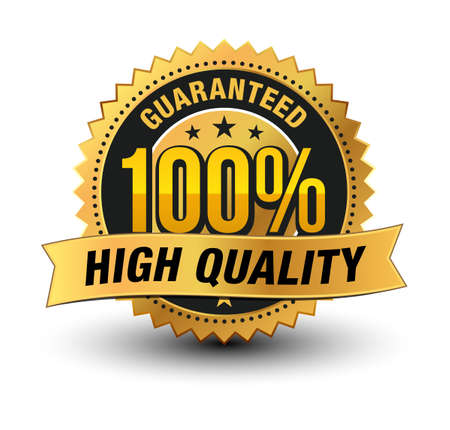 3D premium quality 100% high quality guaranteed gold seal medal with ribbon on top isolated . Ilustração