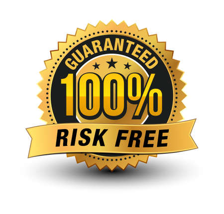 3D premium quality 100% risk free guaranteed gold seal medal with ribbon on top isolated . Vector Illustration