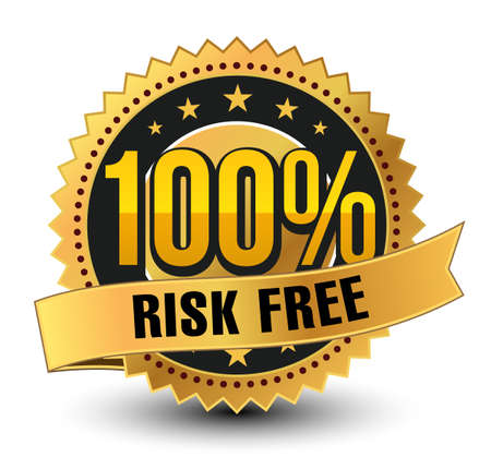 3D 100% risk free golden badge, medal with ribbon on top isolated.