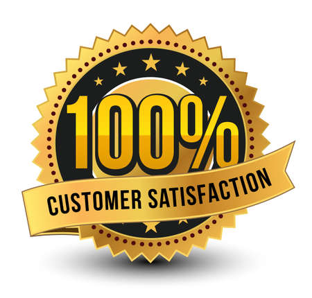 3D 100% customer satisfaction golden badge, medal with ribbon on top isolated.