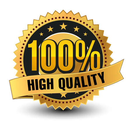 3D 100% high quality golden badge, medal with ribbon on top isolated.