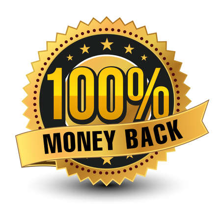 3D 100% money back golden badge, medal with ribbon on top isolated.