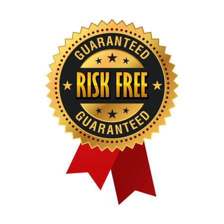 Risk free Guaranteed Golden Medal, Label, Seal, red ribbon Isolated on White Background Ilustração