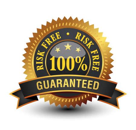 Glossy 100% risk free  guaranteed, golden badge with ribbon.