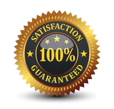Glossy 100% satisfaction guaranteed, isolated on white background. Vector Illustration
