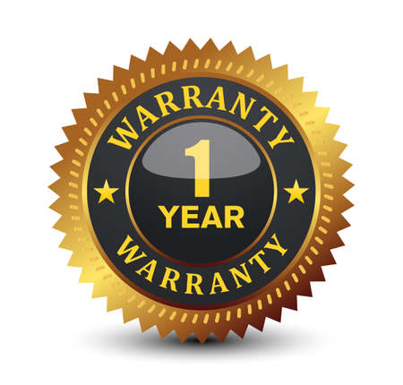 Glossy 1 year warranty badge. Vektorgrafik