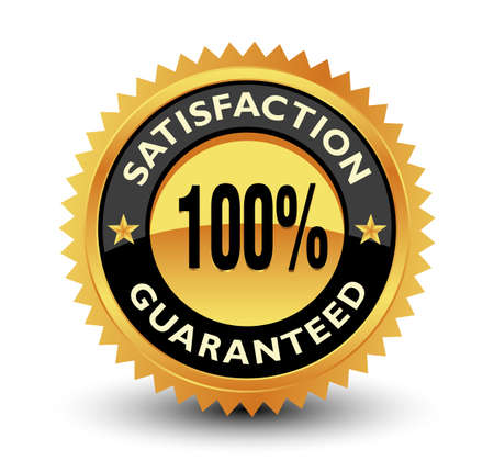 Excellent 100% satisfaction guaranteed gold badge, seal, sign with red ribbon.