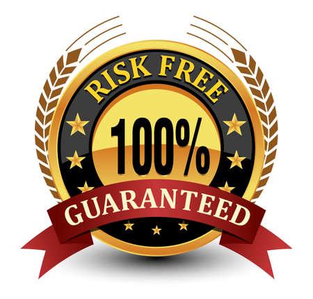 100% risk free guaranteed seal, badge, stamp with laurel and ribbon. Vektorgrafik