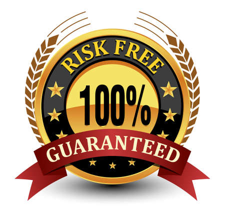 100% risk free guaranteed seal, badge, stamp with laurel and ribbon. Vector Illustration