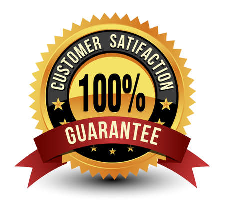 100% Customer Satisfaction Guarantee Golden Medal Isolated on White Background.