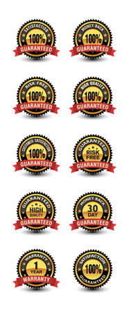 100% Satisfaction guaranteed badges set all in one mega pack, included money back, top quality, risk free, warranty etc.