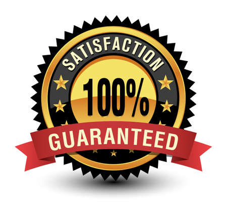 Excellent 100% satisfaction guaranteed gold badge, seal, sign with red ribbon isolated on white background.