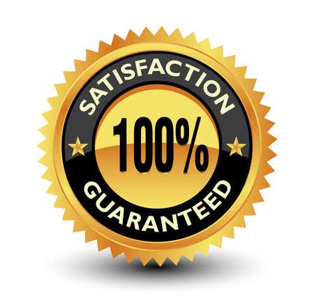 100% satisfaction guarantee golden badge with star