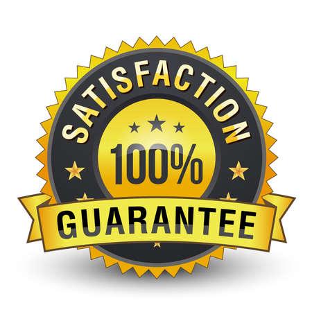 100% Satisfaction guarantee golden badge on white background.