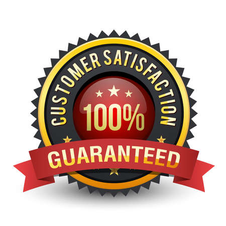100% Customer satisfaction guarantee badge with royal heavy touch on white background.