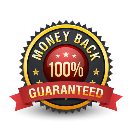 Powerful golden & blackish 100% money back guarantee with red ribbon on white