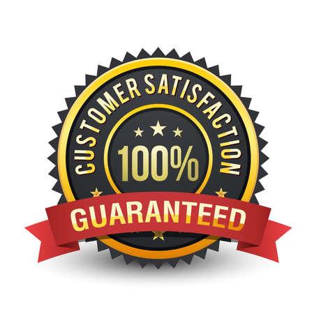 100% Powerful customer satisfaction guaranteed badge on white background. Ilustração