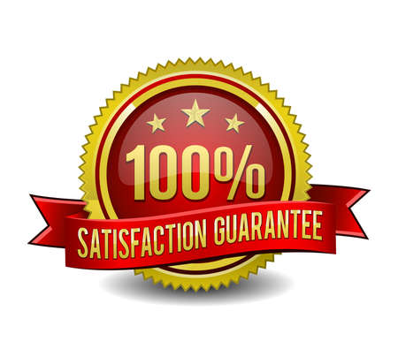 100% satisfaction guarantee golden badge on white background. 向量圖像