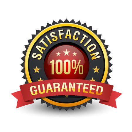 Majestic 100% satisfaction guaranteed badge with red ribbon on white background.
