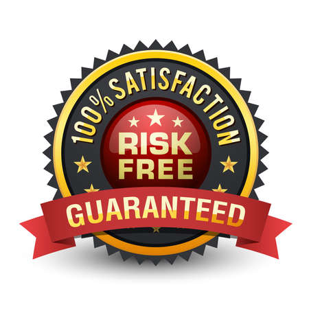 Powerful risk free satisfaction guaranteed badge on white background.