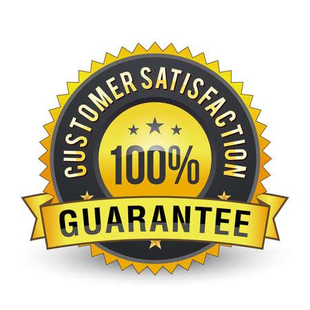 100% Golden customer satisfaction guarantee badge isolated.