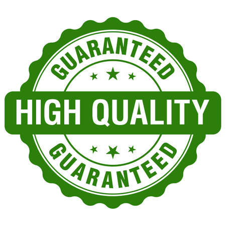 High Quality Guaranteed green reliable grunge stamp, isolated on white background.