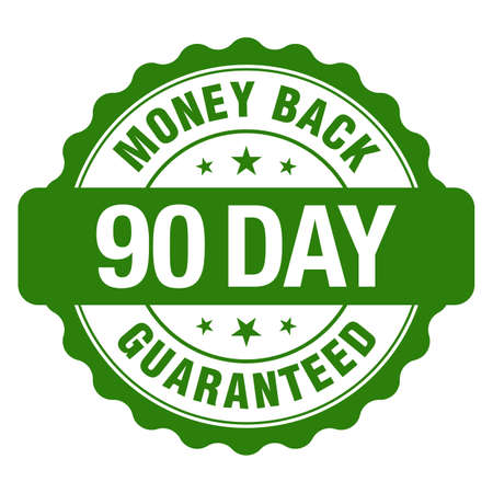 90 Days Money Back Guaranteed, Green Vintage, Retro Sticker, Badge, Icon, Stamp isolated on white background.