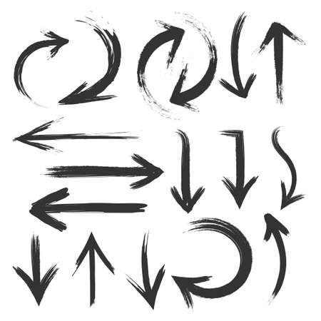 Set of black arrow. Hand drawn arrows set on a white background.