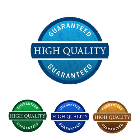 Simple 4 Colored High Quality Guaranteed badge isolated on white background, vector illustration.