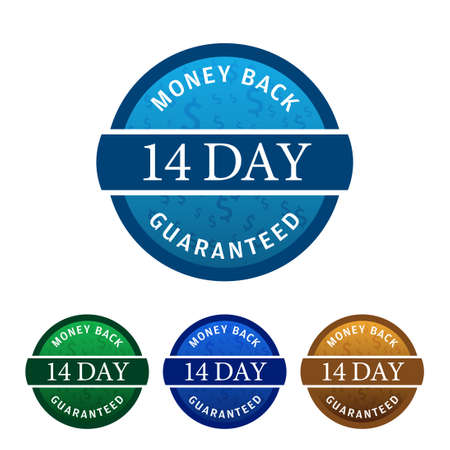 Simple yet powerful 4 colored 14 Day Money Back Guaranteed Sticker, Badge, Icon, Stamp isolated on white background. Vector illustration.
