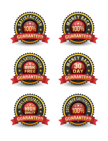Risk free 100% customer satisfaction guarantee badge set.
